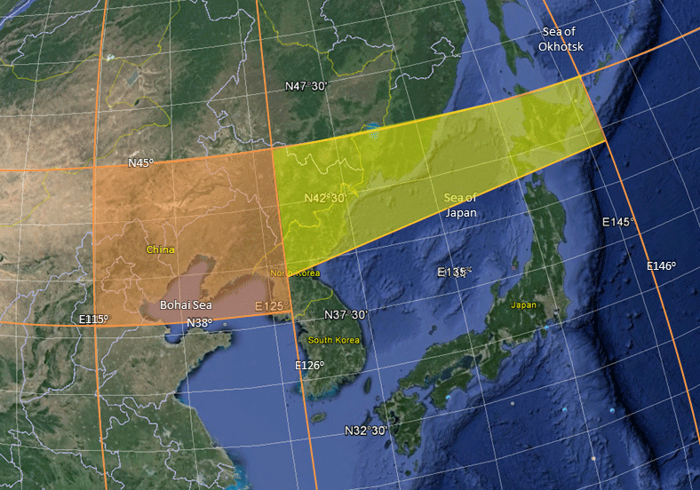 Extended coverage over Korea and Japan.