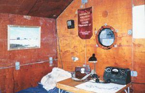 "An interior view of the NP-1 tent, which served as both living quarters and work area. Station members lived for nine months on NP-1. Image credit: EWG. (<a href=""/cryosphere/gallery/photo/34064"">View photo detail.</a>) <br>"