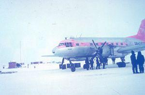 "The main airplane, Ilyushin 14 (IL-14) used for transporting personnel and cargo. Image credit: EWG. (<a href=""/cryosphere/gallery/photo/34072"">View photo detail.</a>) <br>"