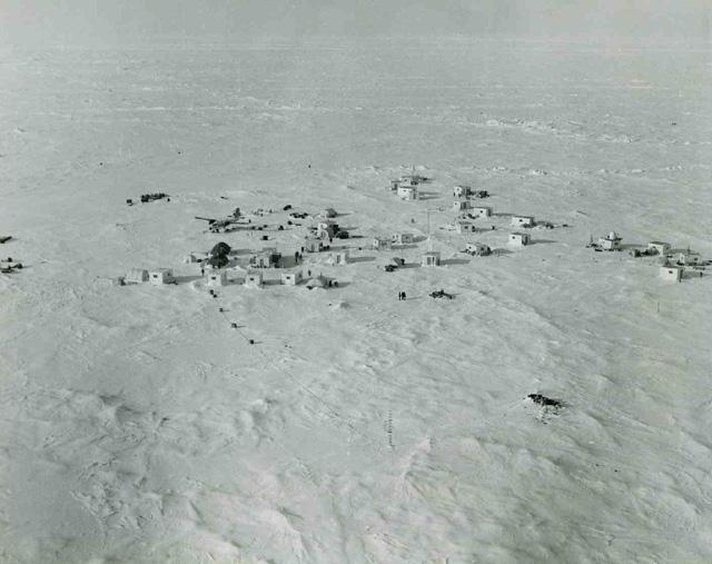 "AIDJEX pilot study 1972. Jumpsuit camp from the air. Image Credit:  NSIDC courtesy Tom Marlar/CRREL <a href=""http://nsidc.org/data/aidjex/"">AIDJEX Web site</a> (<a href=""/cryosphere/gallery/photo/33439"">View photo detail.</a>) <br>"