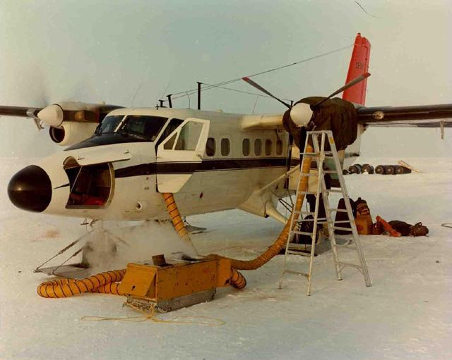 "AIDJEX pilot study 1972. Twin otter airplane. Image Credit:  NSIDC courtesy Tom Marlar/CRREL <a href=""http://nsidc.org/data/aidjex/"">AIDJEX Web site</a> (<a href=""/cryosphere/gallery/photo/33440"">View photo detail.</a>) <br>"