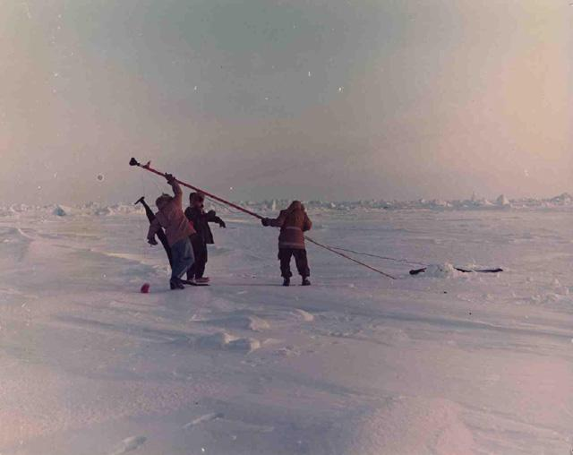 "1972 AIDJEX pilot study. Image Credit:  National Snow &amp; Ice Data Center <a href=""http://nsidc.org/data/aidjex/"">AIDJEX Web site</a> (<a href=""/cryosphere/gallery/photo/33456"">View photo detail.</a>) <br>"