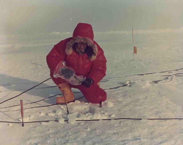 "Tabata 1972 AIDJEX pilot study. Image Credit:  National Snow &amp; Ice Data Center <a href=""http://nsidc.org/data/aidjex/"">AIDJEX Web site</a> (<a href=""/cryosphere/gallery/photo/33461"">View photo detail.</a>) <br>"