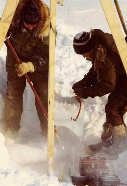 "AIDJEX 1972 Pilot Study: Unmanned current-meter holes had to be reopened periodically. Image Credit:  National Snow &amp; Ice Data Center <a href=""http://nsidc.org/data/aidjex/"">AIDJEX Web site</a> (<a href=""/cryosphere/gallery/photo/33465"">View photo detail.</a>) <br>"