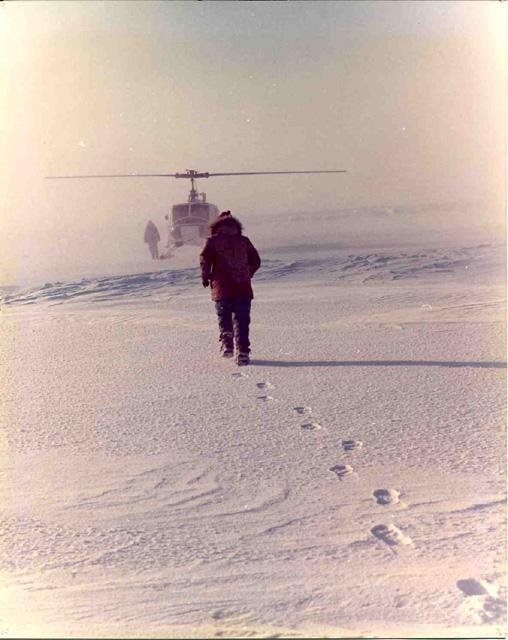 "AIDJEX 1972 pilot study: Steve Ackley heads for rescue helicopter and dry clothing Image Credit:  NSIDC courtesy Tom Marlar/CRREL <a href=""http://nsidc.org/data/aidjex/"">AIDJEX Web site</a> (<a href=""/cryosphere/gallery/photo/33469"">View photo detail.</a>) <br>"