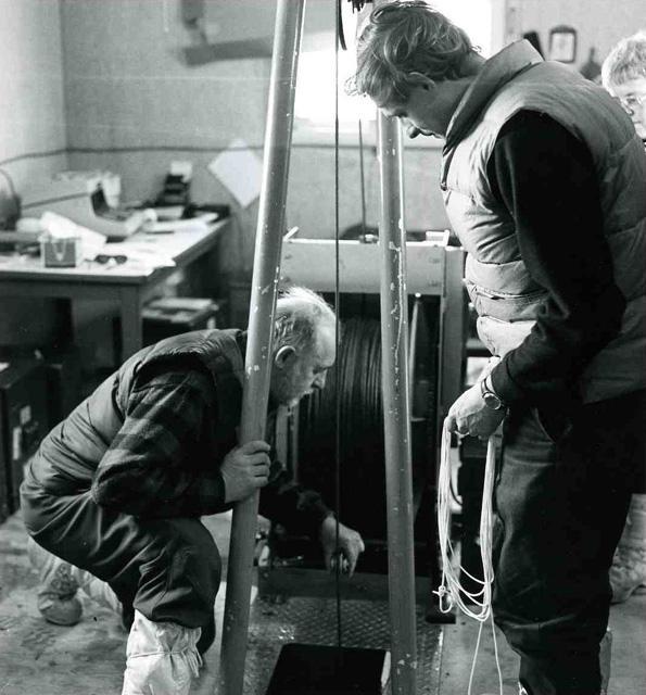 "1972 pilot study: &quot;Bam&#39;s Hut.&quot; Arne Arneberg &quot;the human forklift&quot;, at left. Image Credit:  NSIDC courtesy Tom Marlar/CRREL <a href=""http://nsidc.org/data/aidjex/"">AIDJEX Web site</a> (<a href=""/cryosphere/gallery/photo/33477"">View photo detail.</a>) <br>"
