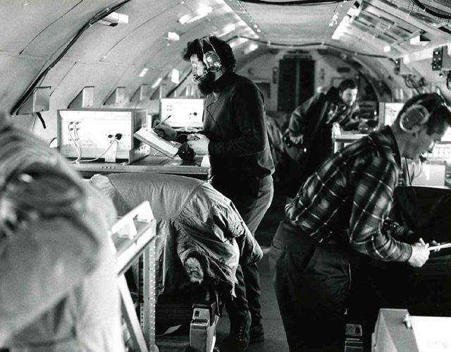 "AIDJEX 1972 pilot study. Inside NASA convair 990. W.Campbell at left. Image Credit:  NSIDC courtesy Tom Marlar/CRREL <a href=""http://nsidc.org/data/aidjex/"">AIDJEX Web site</a> (<a href=""/cryosphere/gallery/photo/33472"">View photo detail.</a>) <br>"