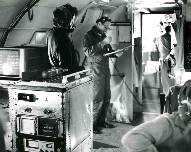 "AIDJEX 1972 pilot study. Inside NASA convair 990, W.Campbell at left. Image Credit:  NSIDC courtesy Tom Marlar/CRREL <a href=""http://nsidc.org/data/aidjex/"">AIDJEX Web site</a> (<a href=""/cryosphere/gallery/photo/33476"">View photo detail.</a>) <br>"