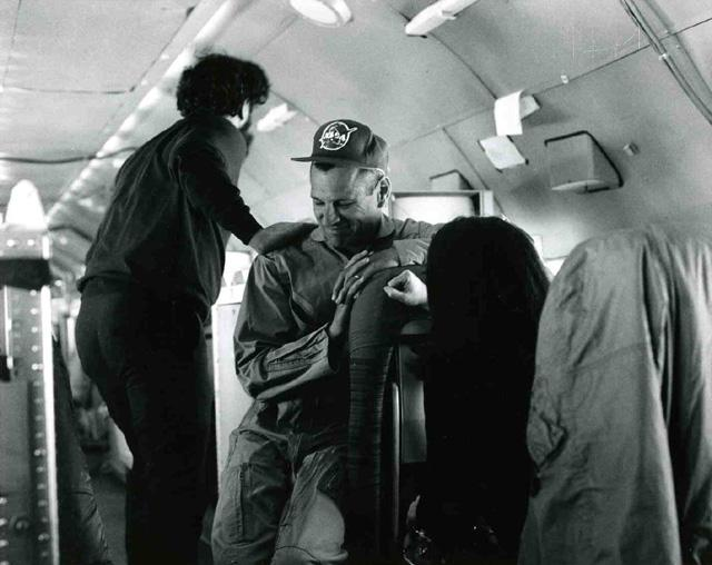 "AIDJEX 1972 pilot study. Inside NASA Convair 990, W. (Bill) Campbell at left  Image Credit:  NSIDC courtesy Tom Marlar/CRREL <a href=""http://nsidc.org/data/aidjex/"">AIDJEX Web site</a> (<a href=""/cryosphere/gallery/photo/33478"">View photo detail.</a>) <br>"