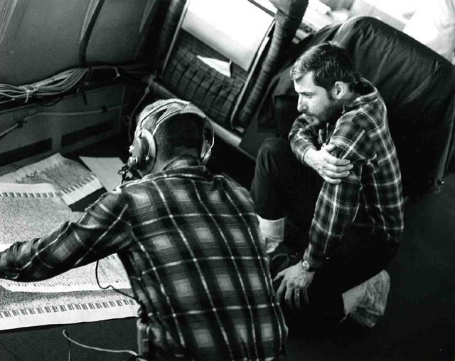 "AIDJEX 1972 pilot study. Inside NASA convair990: Andy Heiberg at right.  Image Credit:  NSIDC courtesy Tom Marlar/CRREL <a href=""http://nsidc.org/data/aidjex/"">AIDJEX Web site</a> (<a href=""/cryosphere/gallery/photo/33483"">View photo detail.</a>) <br>"