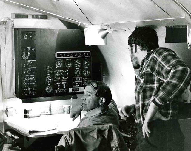 "AIDJEX 1972 pilot study. Inside NASA convair 990: Andy Heiberg at right. Image Credit:  NSIDC courtesy Tom Marlar/CRREL <a href=""http://nsidc.org/data/aidjex/"">AIDJEX Web site</a> (<a href=""/cryosphere/gallery/photo/33481"">View photo detail.</a>) <br>"