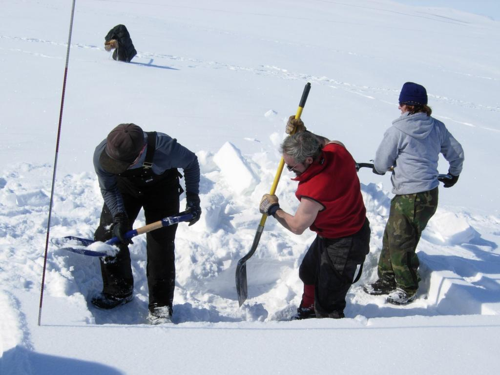 "Researchers start to dig a snow pit. From left to right: Drew Slater,Matthew Sturm, and Steph Saari Image courtesy Mark Serreze, NSIDC. (<a href=""/cryosphere/gallery/photo/33621"">View photo detail.</a>) <br>"