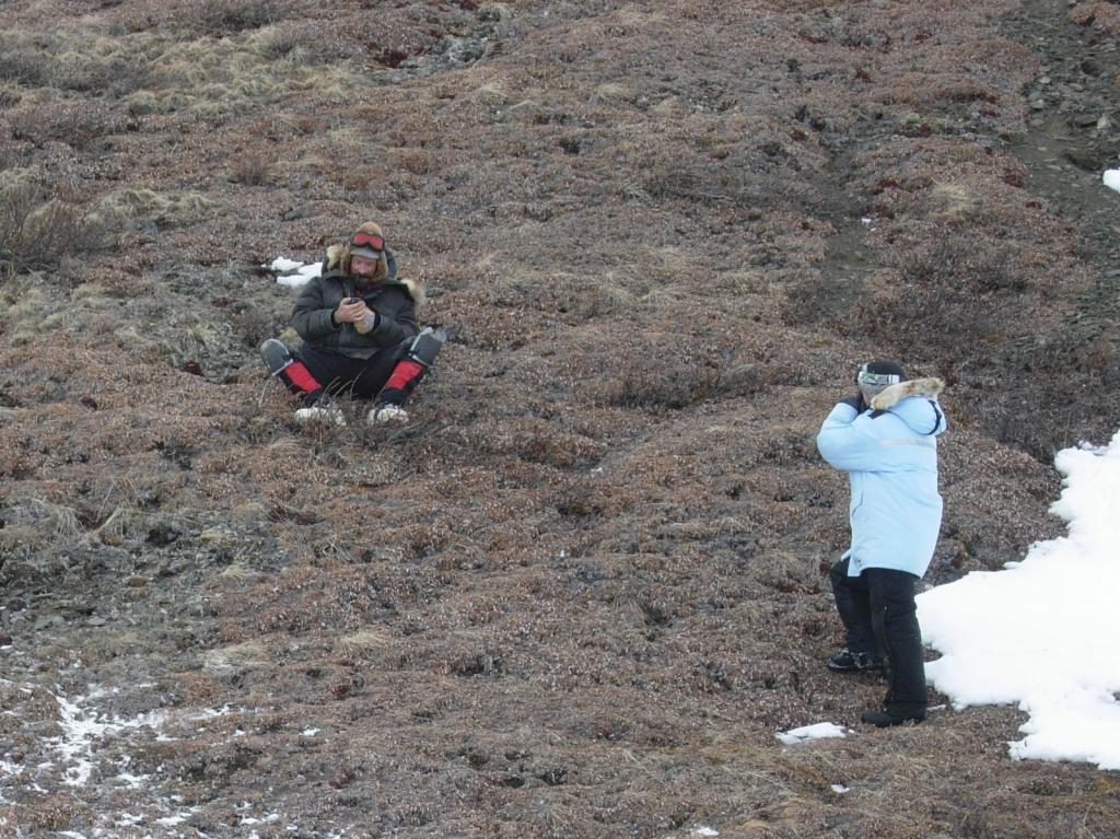 "Matthew & Drew work on the tundra, Brooks Range, AK. Image courtesy Mark Serreze, NSIDC. (<a href=""/cryosphere/gallery/photo/33634"">View photo detail.</a>) <br>"