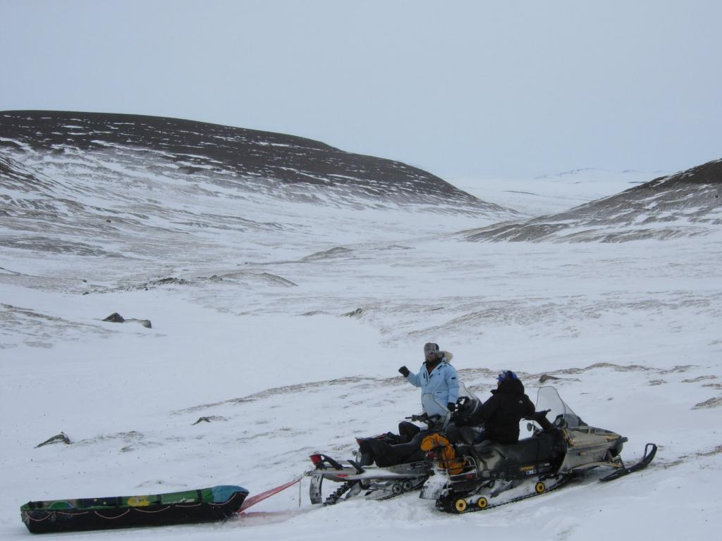 "Researchers head into the Brooks Range by snowmobile. Image courtesy Mark Serreze, NSIDC. (<a href=""/cryosphere/gallery/photo/33631"">View photo detail.</a>) <br>"