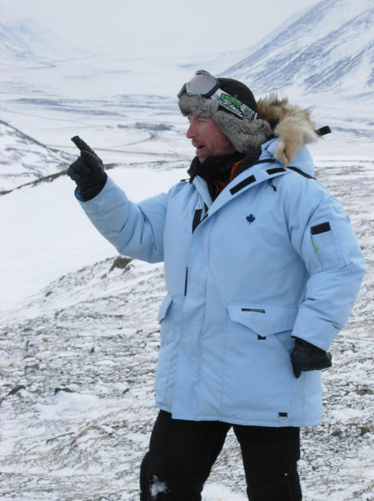 "Drew Slater practices his lecturing skills. Image courtesy Mark Serreze, NSIDC. (<a href=""/cryosphere/gallery/photo/33633"">View photo detail.</a>) <br>"