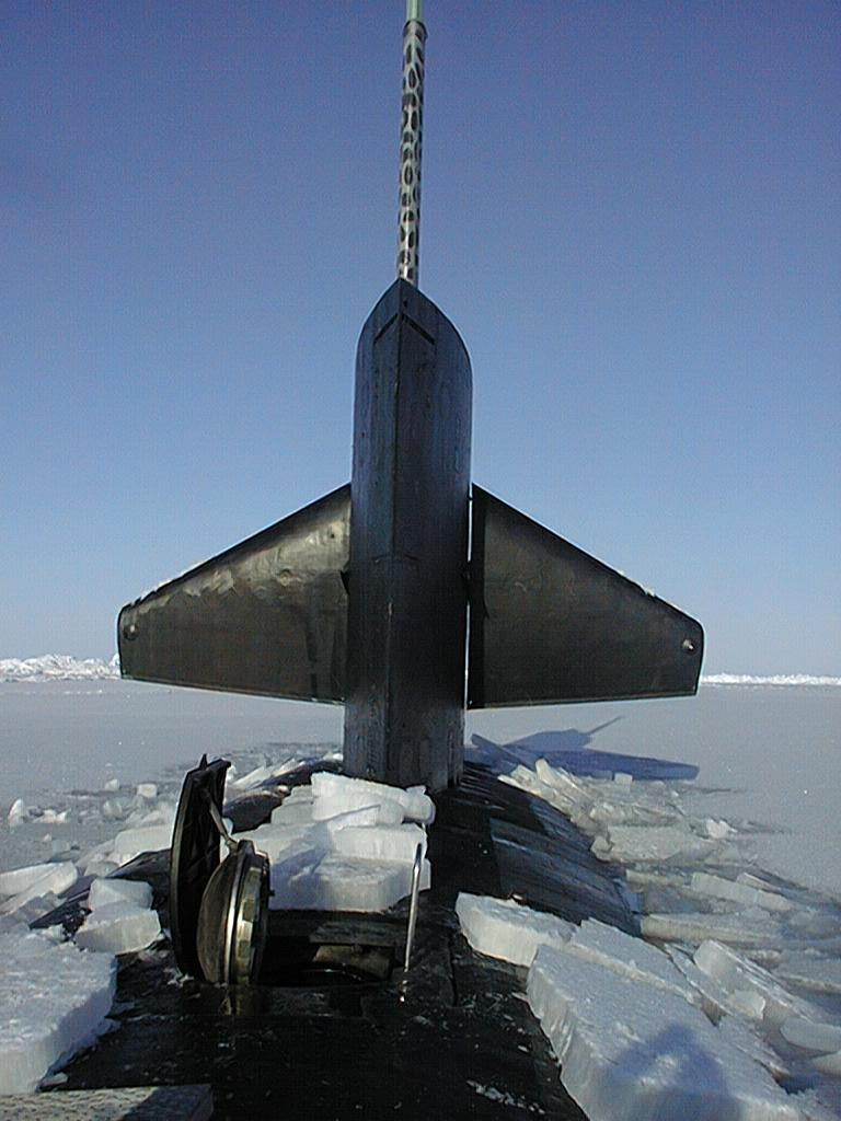 "The USS Hawkbill surfaces at the North Pole during SCICEX 99. Photo courtesy of ASL. (<a href=""/cryosphere/gallery/photo/34003"">View photo detail.</a>) <br>"
