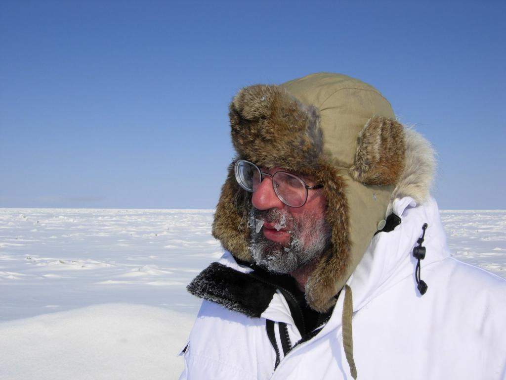"Mark Serreze surveys the sea ice in Barrow, AK. Image courtesy Mark Serreze, NSIDC. (<a href=""/cryosphere/gallery/photo/33638"">View photo detail.</a>) <br>"
