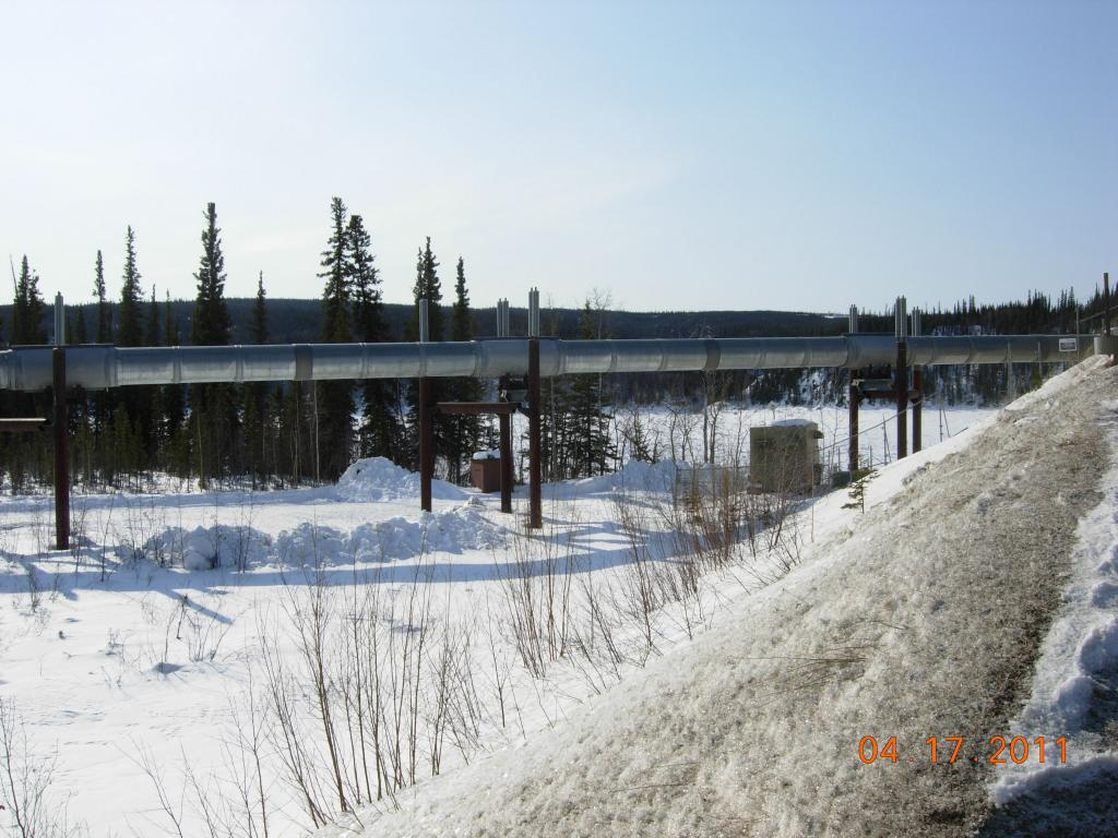 "The Alaska Pipeline transports oil 800 miles from the North Slope to Valdez, Alaska. (<a href=""/cryosphere/gallery/photo/33976"">View photo detail.</a>) <br>"