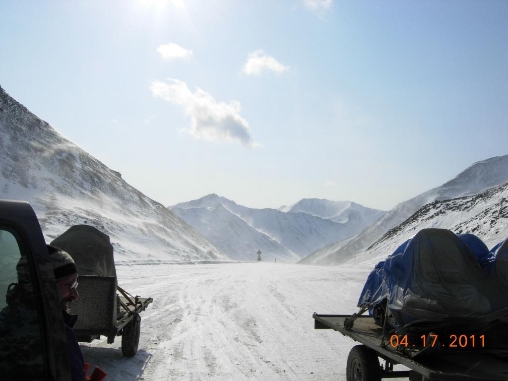 "Snowmobiles head north along the Dalton Highway towards the North Slope, for the 2011 Arctic Observing Network field season. (<a href=""/cryosphere/gallery/photo/33974"">View photo detail.</a>) <br>"