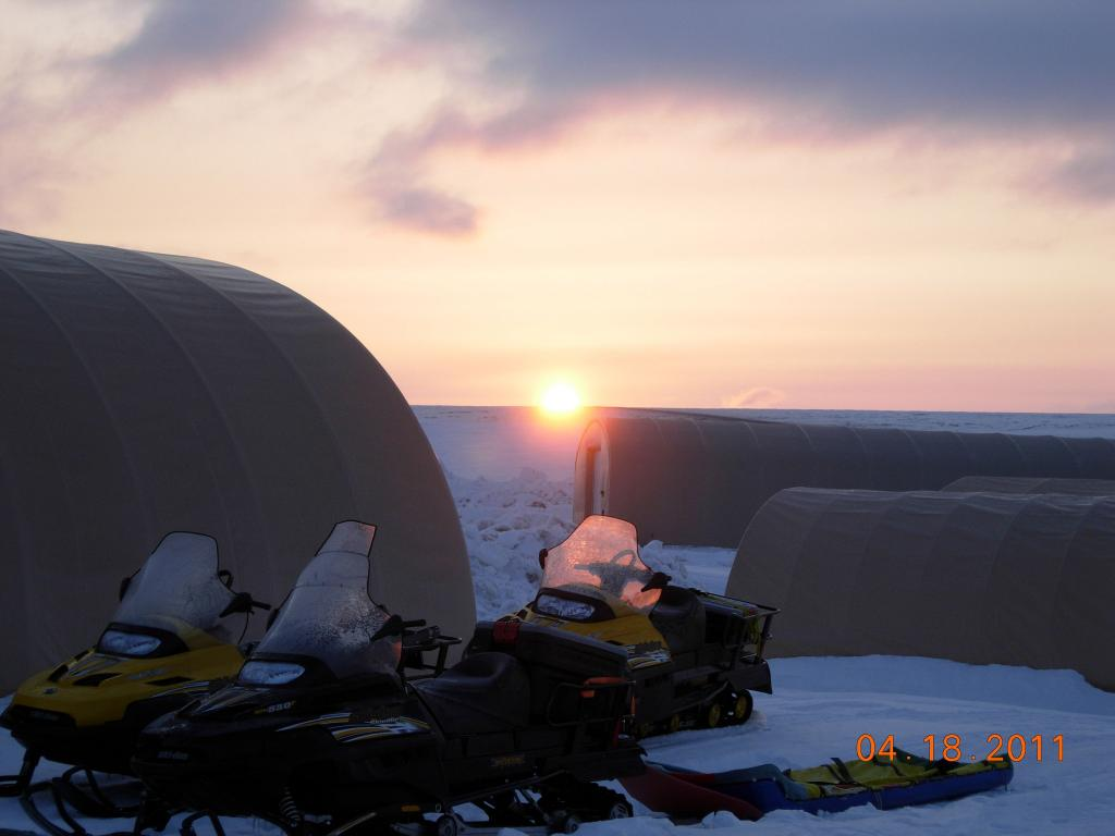 "The sun sets over field camp during the 2011 Arctic Observing Network (Snownet) fieldwork. (<a href=""/cryosphere/gallery/photo/33975"">View photo detail.</a>) <br>"