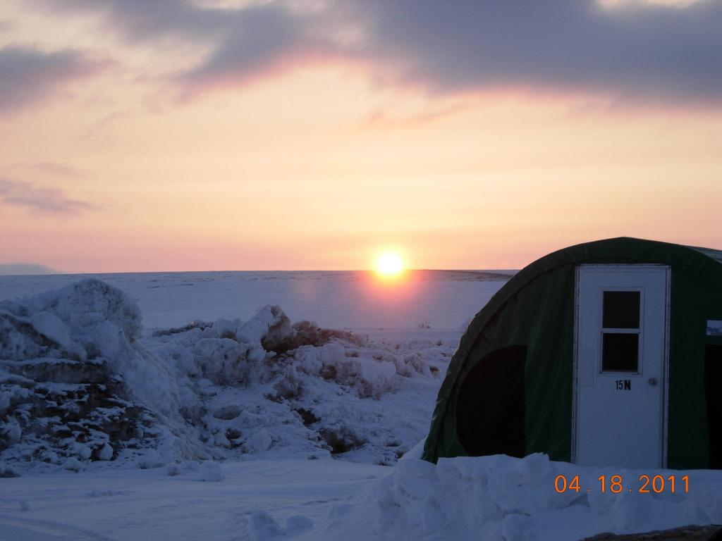 "The sun sets over field camp during the 2011 Arctic Observing Network (Snownet) fieldwork. (<a href=""/cryosphere/gallery/photo/33978"">View photo detail.</a>) <br>"