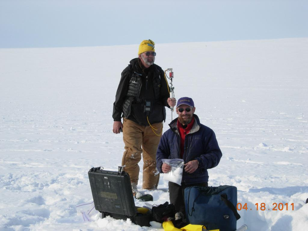 "Mark Serreze (left) and Matthew Sturm collect data on snow cover during the 2011 Arctic Observing Network (Snownet) project. (<a href=""/cryosphere/gallery/photo/33977"">View photo detail.</a>) <br>"