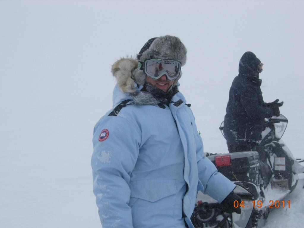 "NSIDC researcher Andrew Slater prepares to travel by snowmobile during the 2011 Arctic Observing Network (Snownet) project. (<a href=""/cryosphere/gallery/photo/33981"">View photo detail.</a>) <br>"