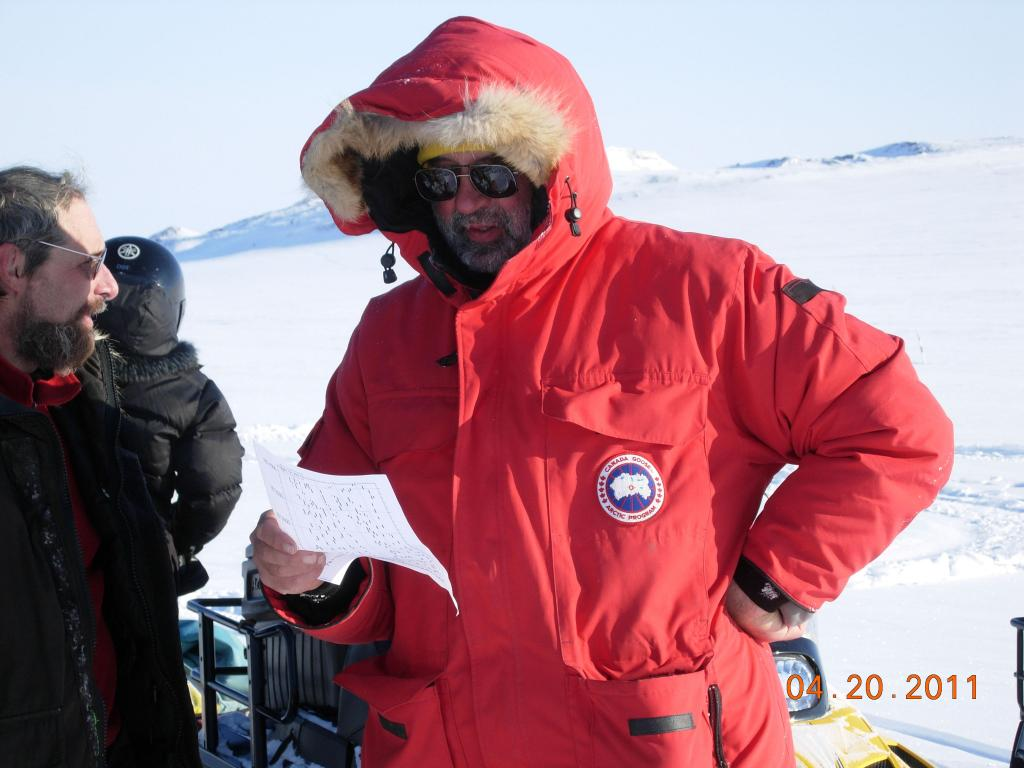 "Mark Serreze consults plans during the 2011 Arctic Observing Network (Snownet) project in Alaska. (<a href=""/cryosphere/gallery/photo/33983"">View photo detail.</a>) <br>"