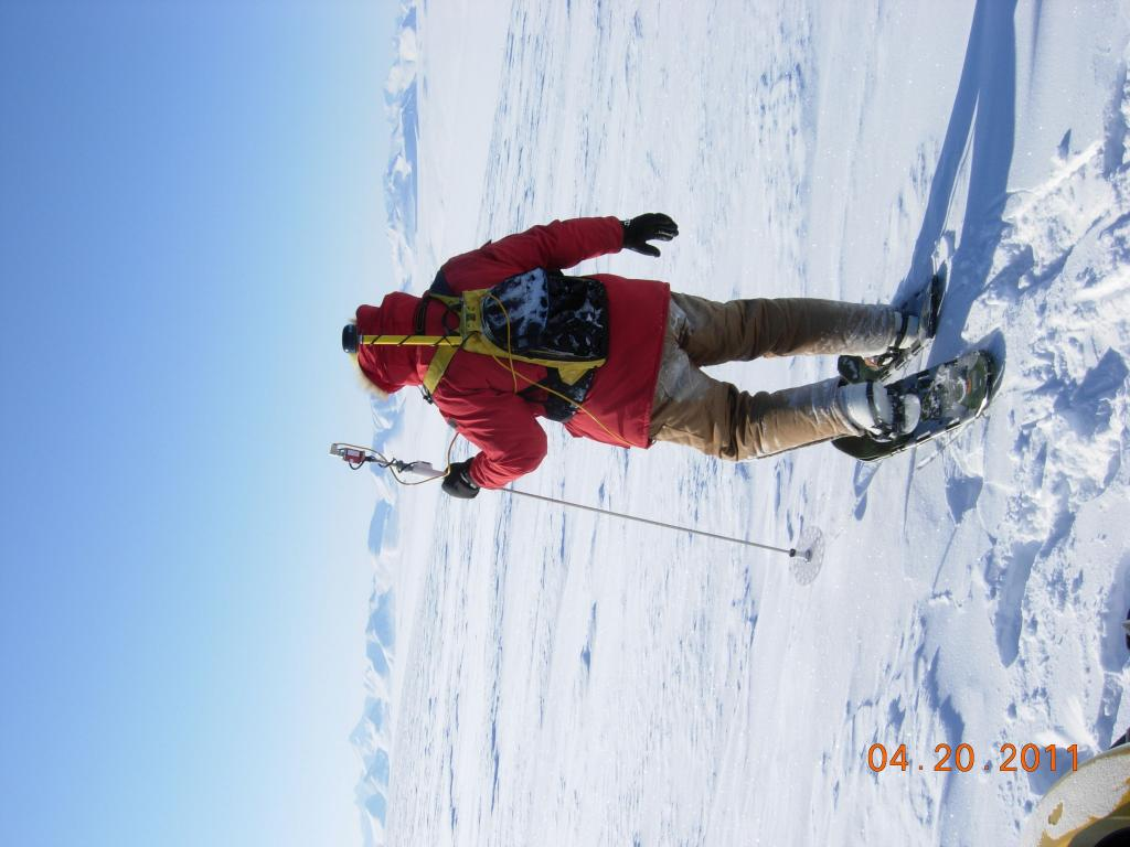 "Mark Serreze measures snow depth during the 2011 Arctic Observing Network (Snownet) project in Alaska. (<a href=""/cryosphere/gallery/photo/33990"">View photo detail.</a>) <br>"
