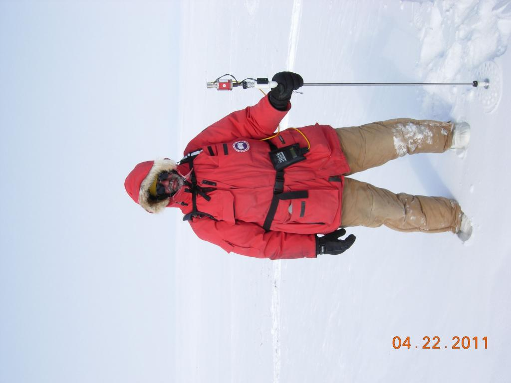 "Mark Serreze measures snow depth during the 2011 Arctic Observing Network (Snownet) project in Alaska. (<a href=""/cryosphere/gallery/photo/33994"">View photo detail.</a>) <br>"
