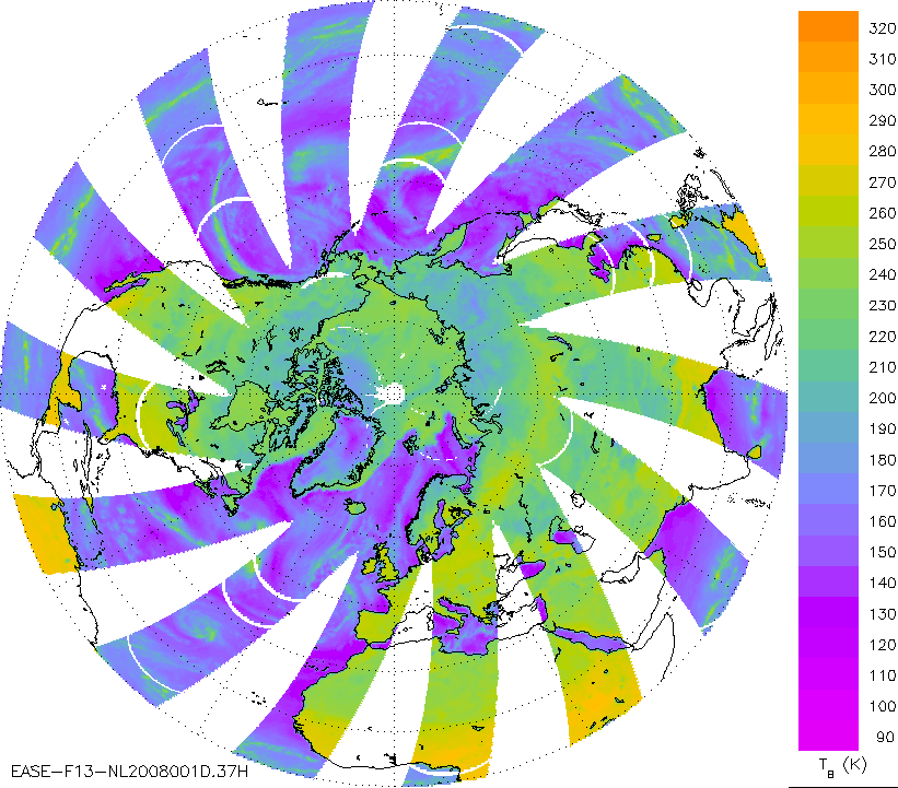 "A sample browse image of SSM/I brightness temperature data for the Northern Hemisphere 25-km EASE-Grid, 37 GHz, horizontally polarized brightness temperatures for descending passes only acquired on 01 January 2008 from the DMSP SSM/I Pathfinder Daily EASE-Grid Brightness Temperatures data set. (<a href=""/cryosphere/gallery/photo/33606"">View photo detail.</a>) <br>"