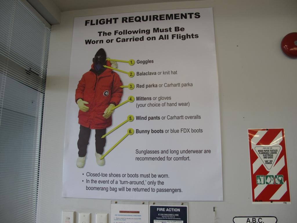"This poster illustrates the required protective gear for traveling to Antarctica. Image Credit:  Ted Scambos, NSIDC (<a href=""/cryosphere/gallery/photo/33726"">View photo detail.</a>) <br>"