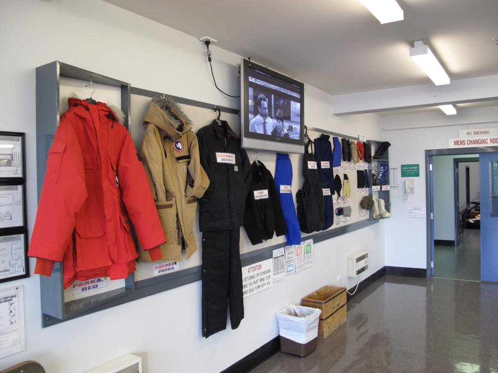 "This display shows the clothing required for travel to Antarctica. Image Credit:  Ted Scambos, NSIDC (<a href=""/cryosphere/gallery/photo/33727"">View photo detail.</a>) <br>"