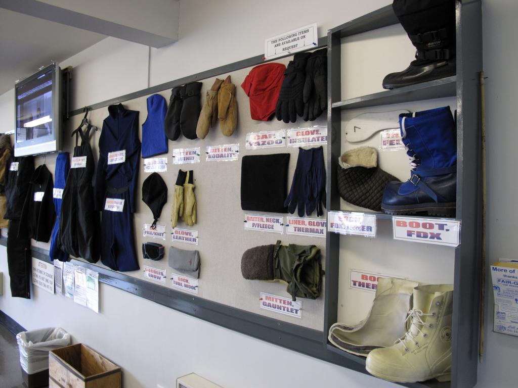 "This display shows the clothing required for travel to Antarctica. Image Credit:  Ted Scambos, NSIDC (<a href=""/cryosphere/gallery/photo/33732"">View photo detail.</a>) <br>"