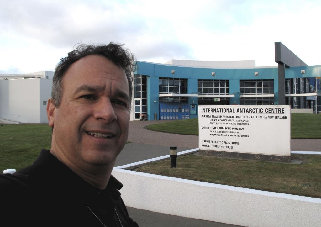 "Ted Scambos poses in front of the International Antarctic Center in New Zealand, waiting for his flight to Antarctica. Image Credit:  Ted Scambos, NSIDC (<a href=""/cryosphere/gallery/photo/33731"">View photo detail.</a>) <br>"