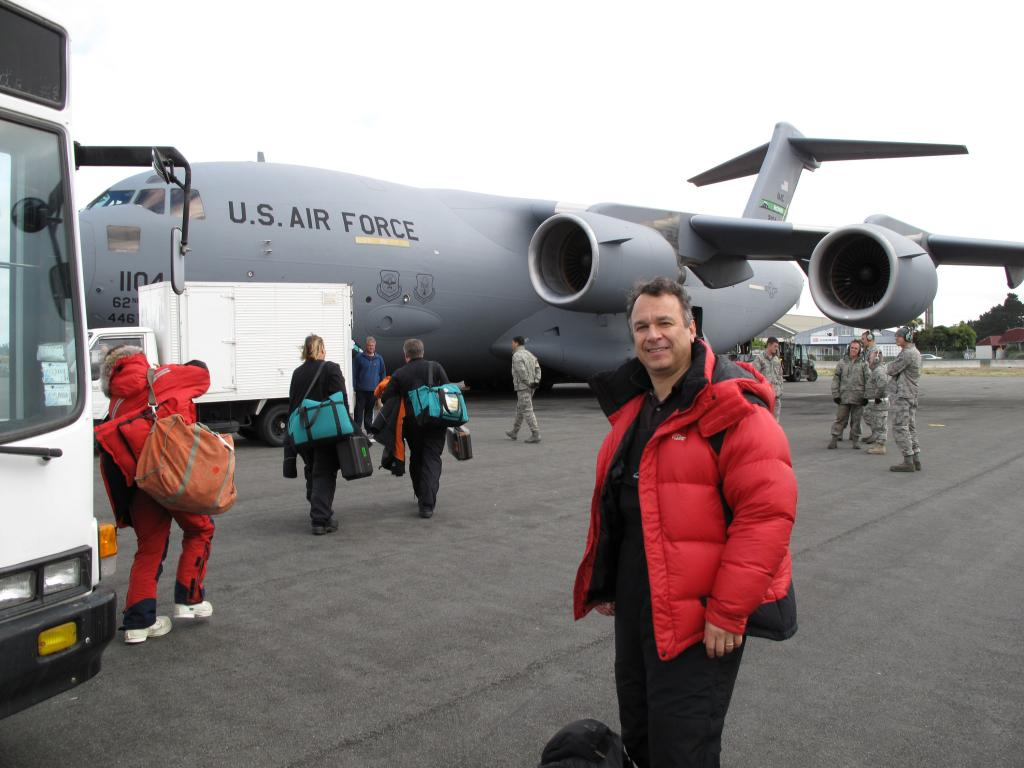 "Ted Scambos waits to board the plane that will take him to McMurdo Station in Antarctica. Image Credit:  Ted Scambos, NSIDC (<a href=""/cryosphere/gallery/photo/33734"">View photo detail.</a>) <br>"