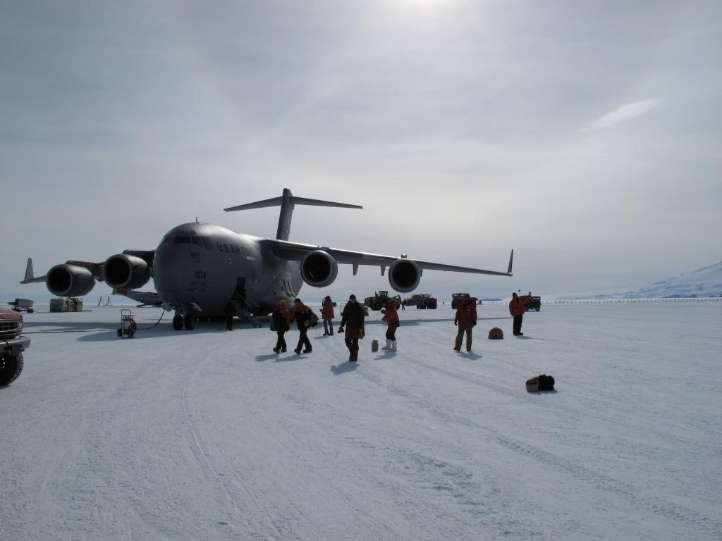 "Researchers disembark at McMurdo Station in Antarctica. Image Credit:  Ted Scambos, NSIDC (<a href=""/cryosphere/gallery/photo/33740"">View photo detail.</a>) <br>"