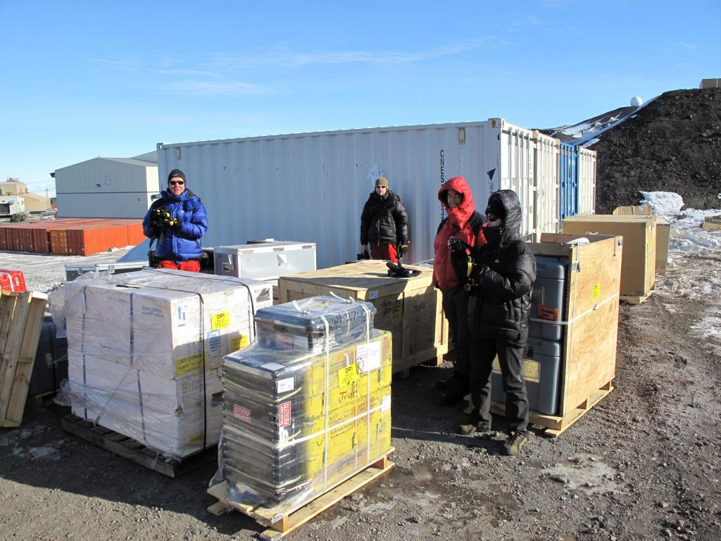 "The Norwegian-U.S. research team packs for the traverse.  Image Credit:  Ted Scambos, NSIDC (<a href=""/cryosphere/gallery/photo/33736"">View photo detail.</a>) <br>"