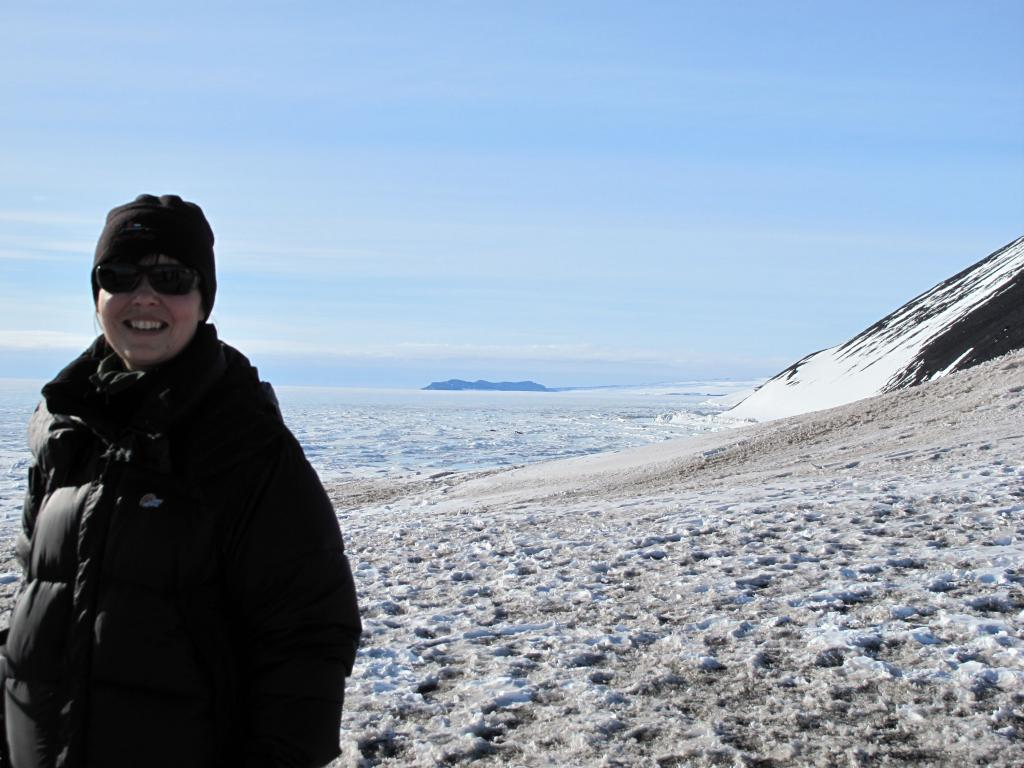 "A traverse member poses on a ridge above McMurdo Station. Image Credit:  Ted Scambos, NSIDC (<a href=""/cryosphere/gallery/photo/33741"">View photo detail.</a>) <br>"