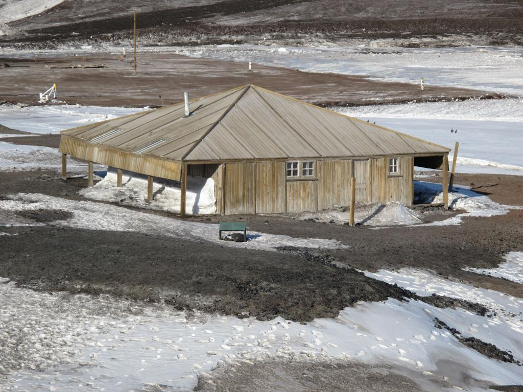 "The hut built by the Scott expedition to Antarctica is located near McMurdo Station. Image Credit:  Ted Scambos, NSIDC (<a href=""/cryosphere/gallery/photo/33742"">View photo detail.</a>) <br>"