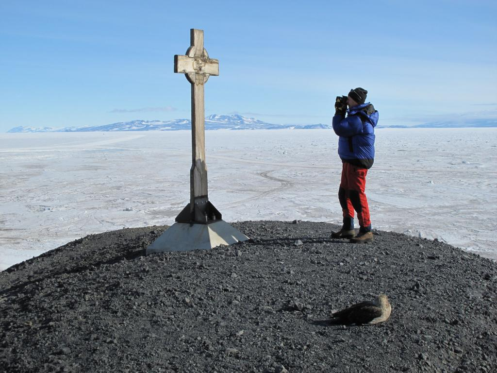 "This memorial sits on a hill above McMurdo Station. Image Credit:  Ted Scambos, NSIDC (<a href=""/cryosphere/gallery/photo/33743"">View photo detail.</a>) <br>"