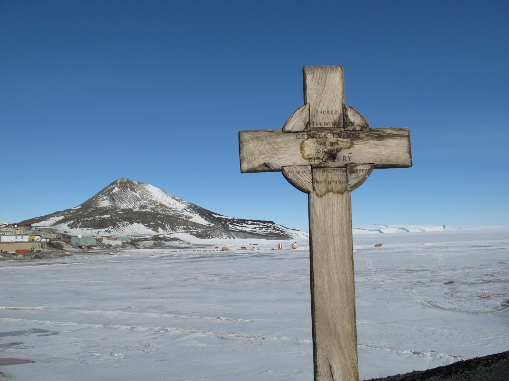 "This memorial sits on a hill above McMurdo Station in Antarctica. Image Credit:  Ted Scambos, NSIDC (<a href=""/cryosphere/gallery/photo/33744"">View photo detail.</a>) <br>"
