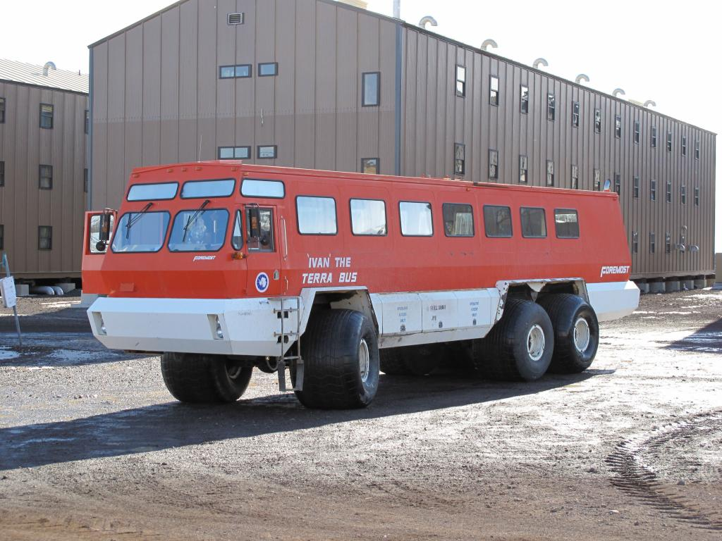 "Public transportation in Antarctica: this bus carries visitors around McMurdo Station. Image Credit:  Ted Scambos, NSIDC (<a href=""/cryosphere/gallery/photo/33746"">View photo detail.</a>) <br>"