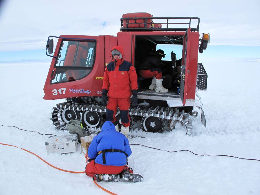 "The team prepares a vehicle for the U.S.-Norway Traverse of East Antarctica. Image Credit:  Ted Scambos, NSIDC (<a href=""/cryosphere/gallery/photo/33748"">View photo detail.</a>) <br>"