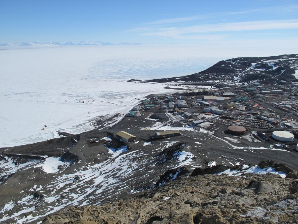 "McMurdo Station sits on Ross Island, on McMurdo Bay in Antarctica. Image Credit:  Ted Scambos, NSIDC (<a href=""/cryosphere/gallery/photo/33754"">View photo detail.</a>) <br>"