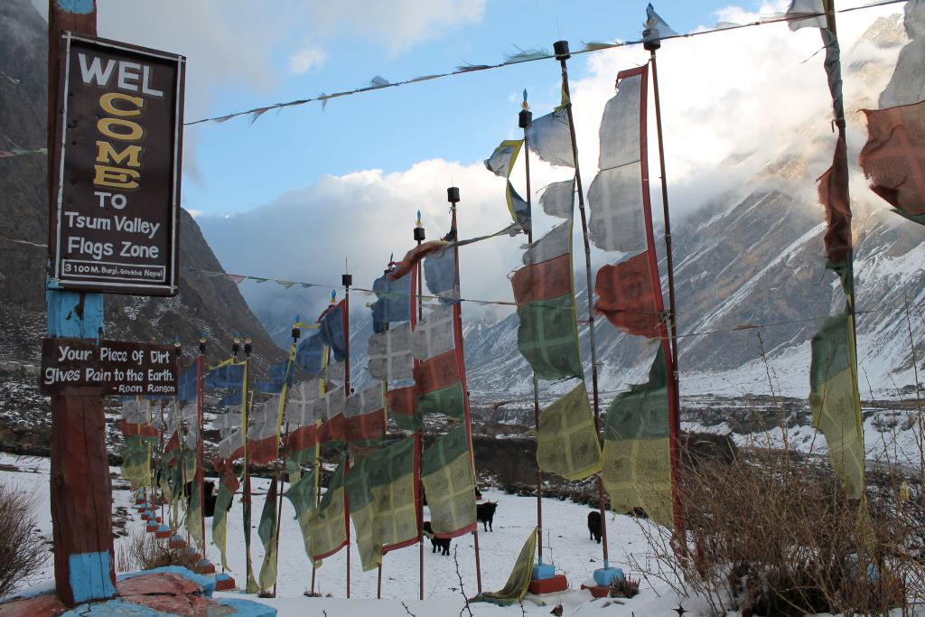 "Prayer flags flutter in the wind just outside the village of Burje, the home base of Gearheard and colleagues during their stay in Tsum Valley, Nepal. Credit: Shari Gearheard (<a href=""/cryosphere/gallery/photo/34011"">View photo detail.</a>) <br>"