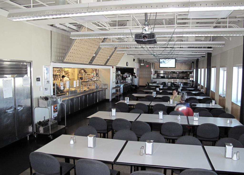 "The cafeteria in the new South Pole Station is attractive, but small. Image Credit:  Ted Scambos, NSIDC (<a href=""/cryosphere/gallery/photo/33763"">View photo detail.</a>) <br>"