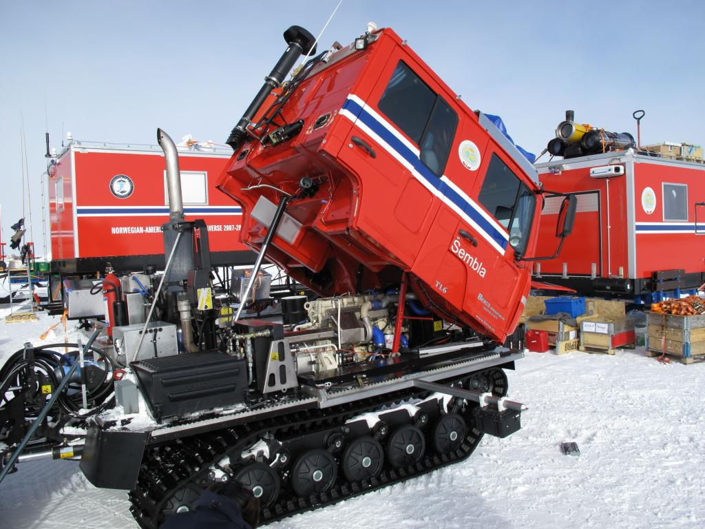 "The truck cab of one of the traverse vehicles is popped up to show the engine that will power across East Antarctica. Image Credit:  Ted Scambos, NSIDC (<a href=""/cryosphere/gallery/photo/33771"">View photo detail.</a>) <br>"