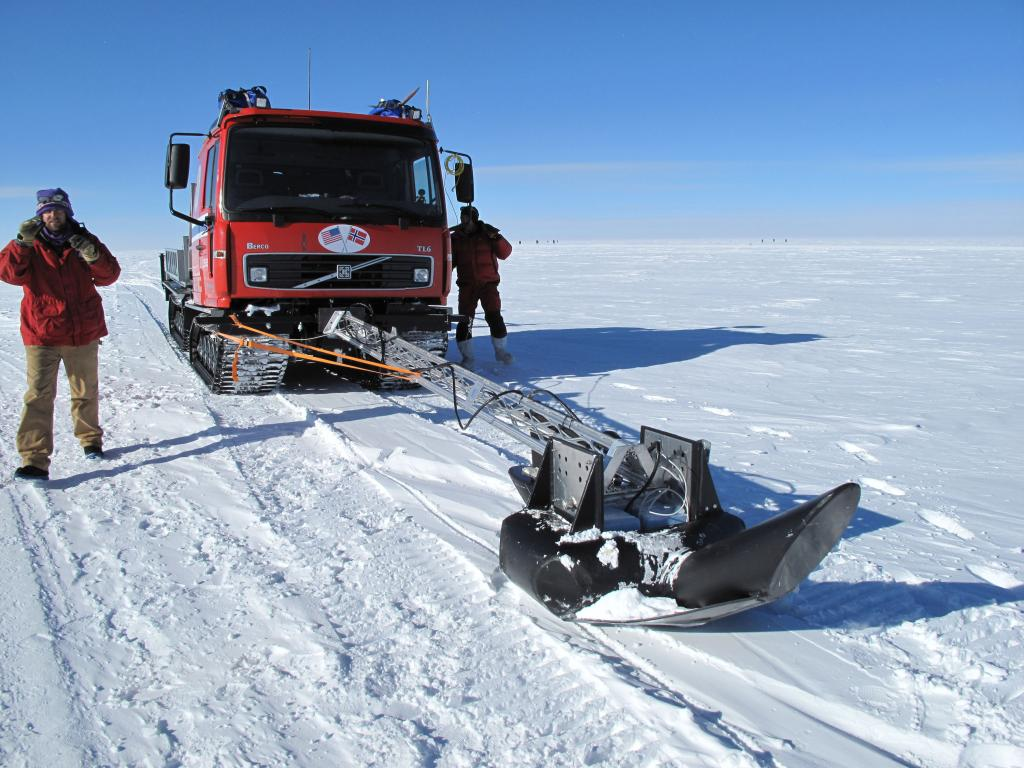 "The lead vehicle in the U.S.-Norway Traverse of East Antarctica used this extendable radar to monitor the ice sheet for hidden crevasses. Image Credit:  Ted Scambos, NSIDC (<a href=""/cryosphere/gallery/photo/33773"">View photo detail.</a>) <br>"