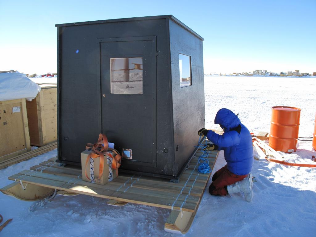 "This shack housed science equipment and experimenters during the traverse. Image Credit:  Ted Scambos, NSIDC (<a href=""/cryosphere/gallery/photo/33774"">View photo detail.</a>) <br>"